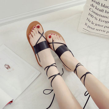 Women ladies summer rome style casual roman gladiado ankle tall high gladiator cross strap flats low heels sandals sandalia