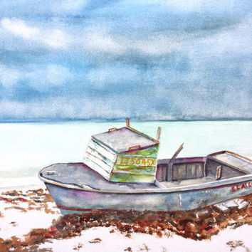 Original Watercolor Boat Painting, Abandoned Beached Wood Boat, 12x16,old fishing boat wreck, beach, nautical, ocean, seascpe,blue, gray