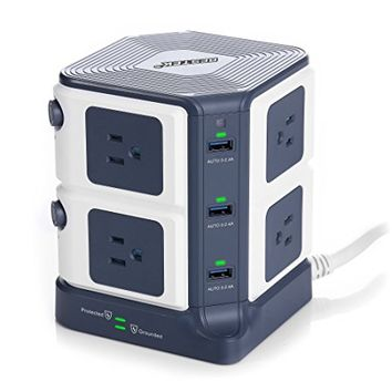 BESTEK Power Strip Surge Protector 8-Outlet 1500 Joules with 8A 6-Port USB Charging Ports