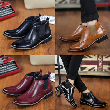 Mens Brogue Detail Slip-On Dress Boots