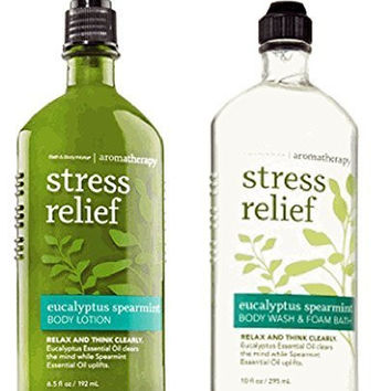 Body Works Aromatherapy Stress Relief Eucalyptus Spearmint 10 Oz  Body Wash & Foam Bath and 6.5 Oz Body Lotion Bundle (Eucalyptus Spearmint)