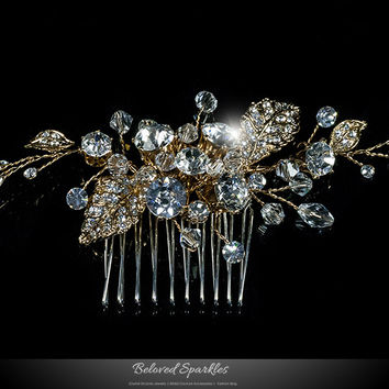 Derica Curved Leaves Gold Hair Comb   Swarovski Crystal
