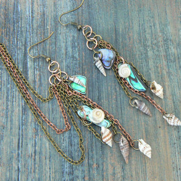 abalone and seashell chained ear cuff SET chains abalone shells cuff in mermaid boho gypsy hippie hipster beach resort and tribal style