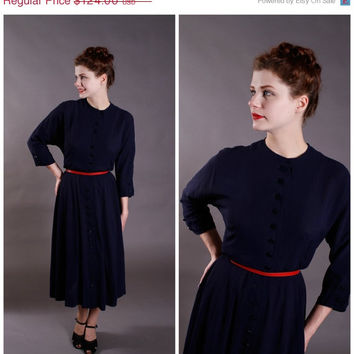 CHRISTMAS SALE - Vintage 1950s Dress - New Look Navy Rayon Dress with 3/4 Sleeves - Midnight Swing