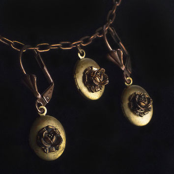 Vintage Warm Aged Brass Miniature Lockets with by recrudescence