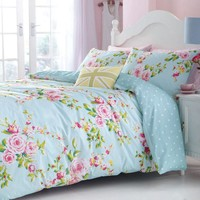 Canterbury Floral, Blue White Polka Dot Reversible Duvet Quilt Cover Bedding Set