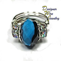 DWJ0244 Beautiful Twilight Sky Faceted Czech Glass Silver Wire Wrap Ring All Sizes