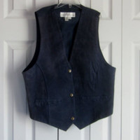 Vintage Blue Suede Vest, Leather Suede, Womens Vest Size M Medium, Front Snap Closure, Dark Blue Vest Western Clothing - Edit Listing - Etsy