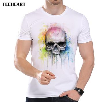 Watercolor Skull Print T Shirt for Men Summer Cool Short Sleeve Modal Top Tees la494