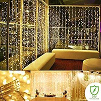 Curtain String lights ,300 LED Icicle Wall Lights, Fairy Indoor Starry Lights 8 Mode For Wedding,Bedroom, Christmas, Holiday, Party , Indoor Outdoor Home decoration, UL Certification(Warm white)