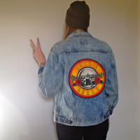 Oversized Acid Washed Denim Jacket with Guns n Roses Patch
