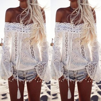 Women Off Shoulder Crochet Lace Tops Summer Beach Oversized Loose T Shirt Blouse