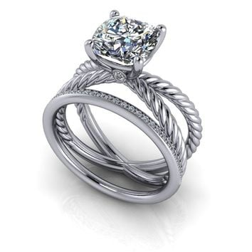 Twist Shank Solitaire Setting Bridal Set - Cushion Cut Split Shank Ring - Diamond Wedding Band
