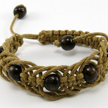 Macrame light brown bracelet, handmade,  cotton waxed cord,  macrame, cuff, for women, unisex, for men, wooden beads