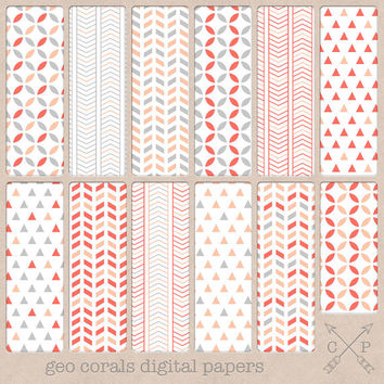 Grey pink and coral digital paper pack. Geometric patterns chevrons triangles pyramids for scrapbooking graphic design, blog backgrounds etc