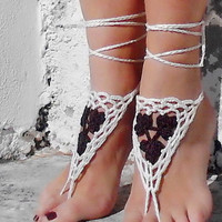 Handmade Knitting Patchwork Hollow Out Ethnic Anklet Bracelet Crochet Barefoot Sandals Foot Jewelry Accessory Gift-16