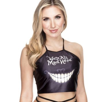 Black We're All Mad Here Alice in Wonderland Chesire Cat Lace Up Rave Wrap Crop Top