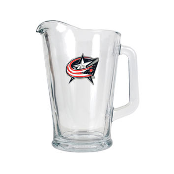 Great American Product NHL Columbus Blue Jackets 60oz Glass Beverage Pitcher Clear