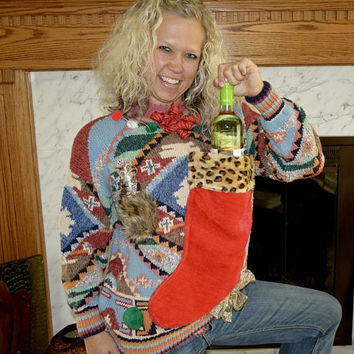 Wine Holder, Ugly Christmas Sweater, woman's Medium, alcohol, wine, novelty, one of a kind, vintage sweater, jumper, stocking, cat, cheetah