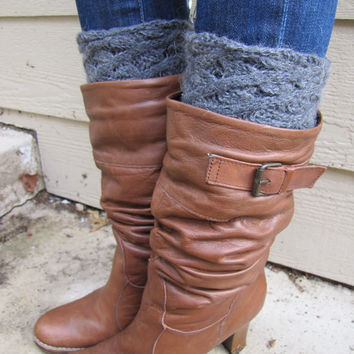 Boot Socks-Buy 2 get 1 FREE-Boot Cuffs-Leg Warmers-Knee High Socks-Boot Topper-Boot Socks- Gray Wool/Mohair blend