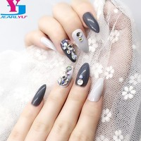 Hot 24PCS Long False Nails Manicure DIY 3D Shiny Press On Fake Nails Art Tips Stiletto Full Acrylic Bling AB Crystal Stickers
