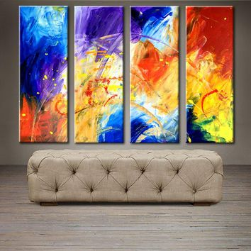 """'Rainbow moment' - 48"""" X 30"""" Original Abstract  Art. Free-shipping within USA & 30 day return Policy."""