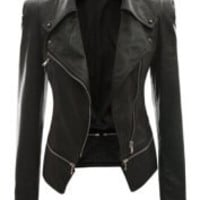 Black Zippered Long Sleeve Leather Jacket