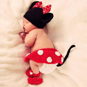 0-6 Months Red Color Wool Girl Infant Baby With Crochet Knit Design  Cartoon Hat + Skirt Baby Photography Props