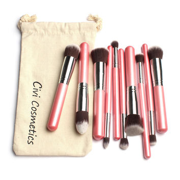 10 Pcs Makeup Brushes Set with pouch