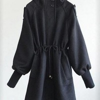Hooded Black long puff sleeve woolen slim fit coat  Other type  Solid Pop  style cy915012 in  Indressme