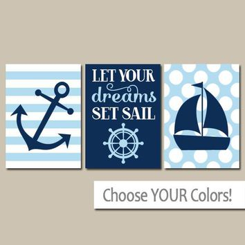 NAUTICAL Nursery Art, Boy NAUTICAL Wall Art, CANVAS or Prints, Coastal Nursery Decor, Ocean Anchor Sailboat Decor, Dreams Set Sail, Set of 3