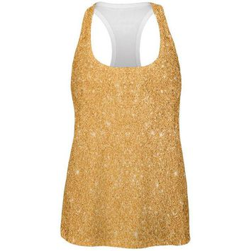 DCCKU3R Gold Glitter All Over Womens Racerback Tank Top