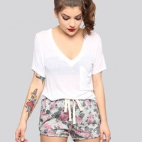 Floral Track Shorts