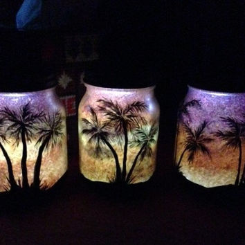 Palm Tree Sunset, Mason Jar Light, Outdoor Solar Light, Hand Painted Mason Jar, Hanging Lantern, Pint Size, Outdoor Lighting