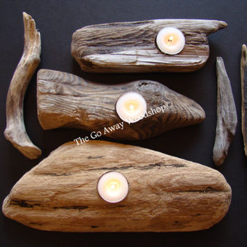Driftwood tea light holder, set of 3