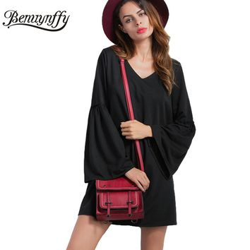New Spring Women Casual Shift Dress Black V Neck Flare Sleeve Cotton A Line Short Dresses Loose Women Clothing