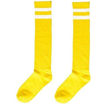 "Standard Knee High Socks with White Stripes Sports Costume Party Apparel, Yellow, Fabric, 19""."