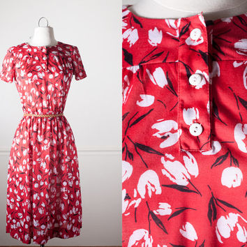 Mod Floral Dress | Vintage Red Dress Midi Skirt Mod Dress Hippie Boho Festival Sundress 70s Dress Day Dress Tulip Print Retro Dress