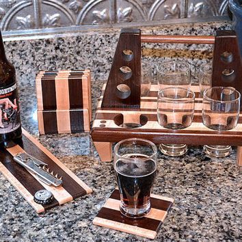 Handmade Wood Mini Brew Beer 6 Pack, Coaster Set and Beer and Cheese Board 6 - The Black and Tan - Curly Maple & Black Walnut