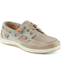Sperry Top-Sider Womens Songfish Waxy Canvas Boat Shoes in Taupe STS96656