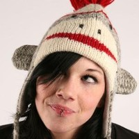 Knitwits Delux Cute Sock Monkey Pilot Animal Hat - Grey - Punk.com