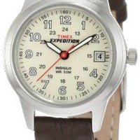 Timex Women's T40301 Expedition Metal Field Brown Leather Strap Watch