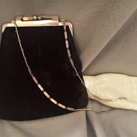 Harry Levin HL USA  Black Crushed Velvet Purse Evening Formal Heavy Silver Clasp and Chain Mid Century, inside slip pocket