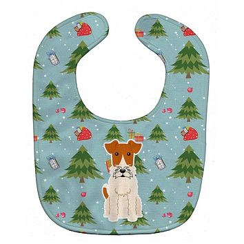 Christmas Wire Fox Terrier Baby Bib BB4761BIB