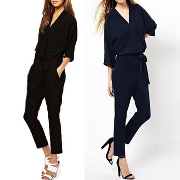 Lady Women's V Neck Jumpsuit Pants Fashion Romper Overalls Formal Party Clubwear