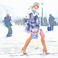 """16"""" x 11"""" Paris Fashion Week, Vogue Street Style Print from Watercolor Painting"""