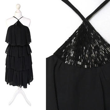 Vintage Shubette Of London Dress | Black Dress | 1970's Tiered Chiffon Dress