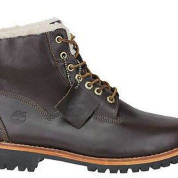 "Timberland Mens EK Heritage Lined 6"" Boots Rugged Dark Brown 6555A"
