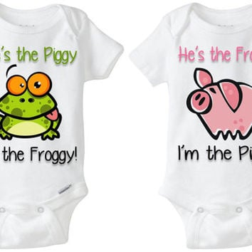 "Twin Baby Gift: Gerber Onesuit brand body suits - Pig & Frog (set of 2) ""She's the Piggy; I'm the Froggy"" great for boy/girl fraternal twins"