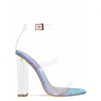 Darcia Rainbow Snake Multi Clear Strap Heels : Simmi Shoes